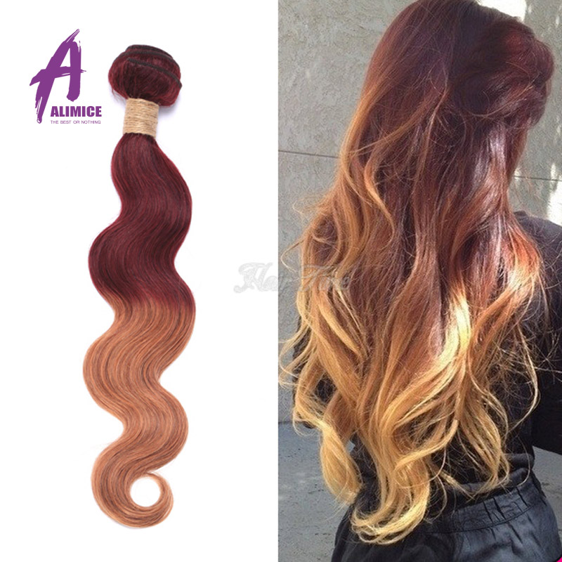 Free Shipping 3 pcs per lot Body Wave Brazilian Hair Weaving Two Colors Ombre Hair Extension<br><br>Aliexpress