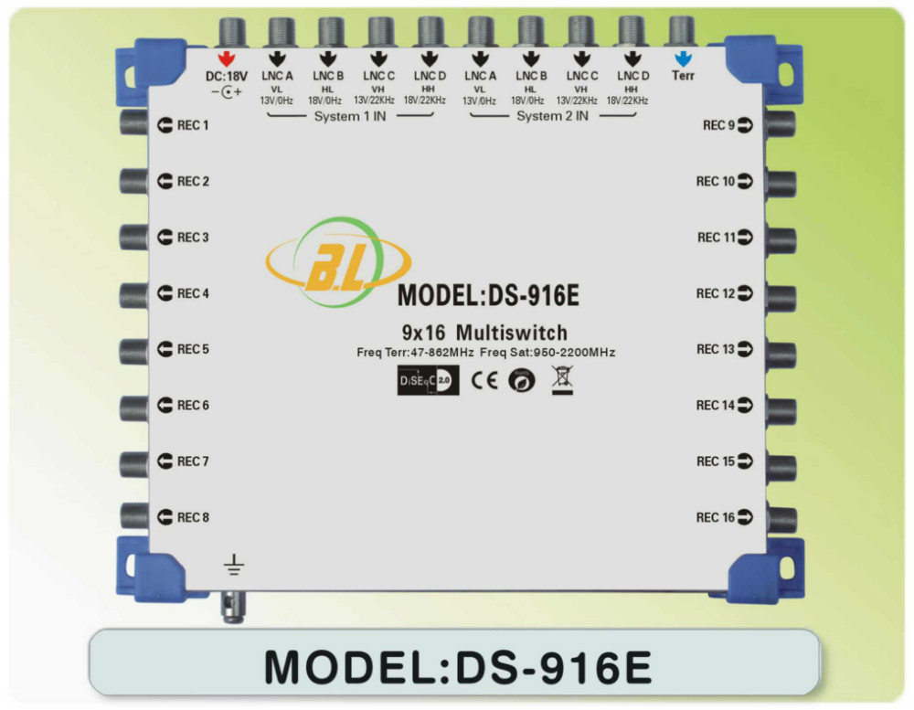 Satellite multiswitch DS-916E Connect the LNB and the receiver 8 SATV and 1 CATV program for 16 users at the same time watch(China (Mainland))