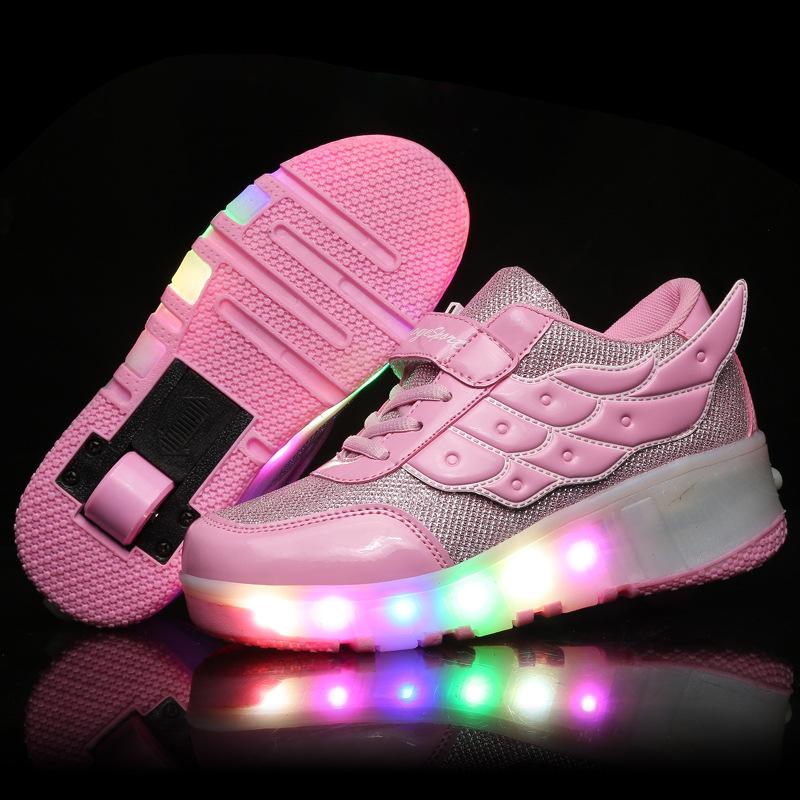 2016 Children Wings Led Light Shoes New Boys Girls Heelys Wheels Luminous Sneakers Fashion Kids Roller Skate Flashing 0519 - Allin Store store