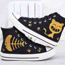 Shoes Women Yeezy Shoe Hand Painted Cat and Fish Hi-top Shoes for Adults Chaussure Femme Basket Femme Best Gift(China (Mainland))