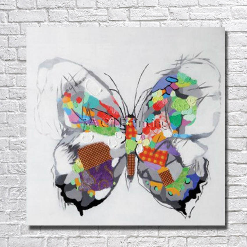 Large Free Modern Hand-painted Art Decor Painting Butterfly Oil Painting Canvas Wall Art Home Decoration Framed