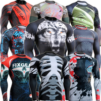 FIXGEAR Compression Fitness Top Skin Weight Lifting Shirts Base Layer Running Training Body Building Tight For Men S-4XL