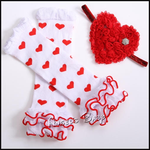 Heart Pattern Baby Legwarmers Headband Set,valentine leggings toddler leg warmer kid,ropa bebe Knee Protector,Baby Cloth,#3T0178(China (Mainland))