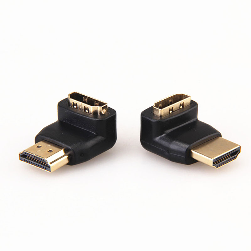 2PCS/lot 90 + 270 Degree Right Angle Gold Plated HDMI Adapter Connector A type Male to Female for 1080p 3D TV HDTV