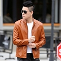 Casual Men Leather Coat Autumn Winter Long Sleeve Young Men Leather Jacket Stand Collar Outerwears Outfits