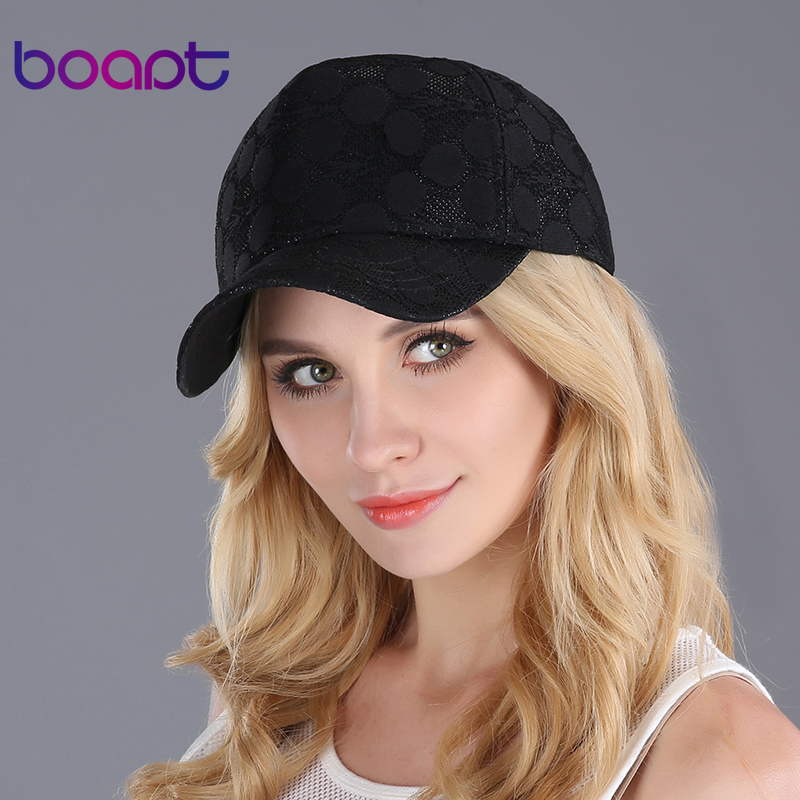 BOAPT dot lace embroidery summer women's hats fashion heart label snapback hip hop baseball cap female caps sun dad hat(China (Mainland))