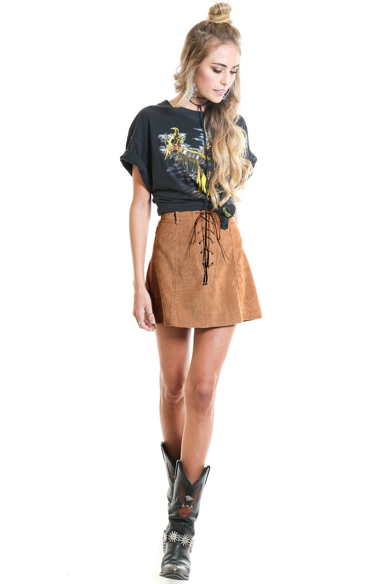 Simplee Apparel Vintage lace up high waist women skirt school girl Brown skirt Autumn a line mini faux leather suede short skirt