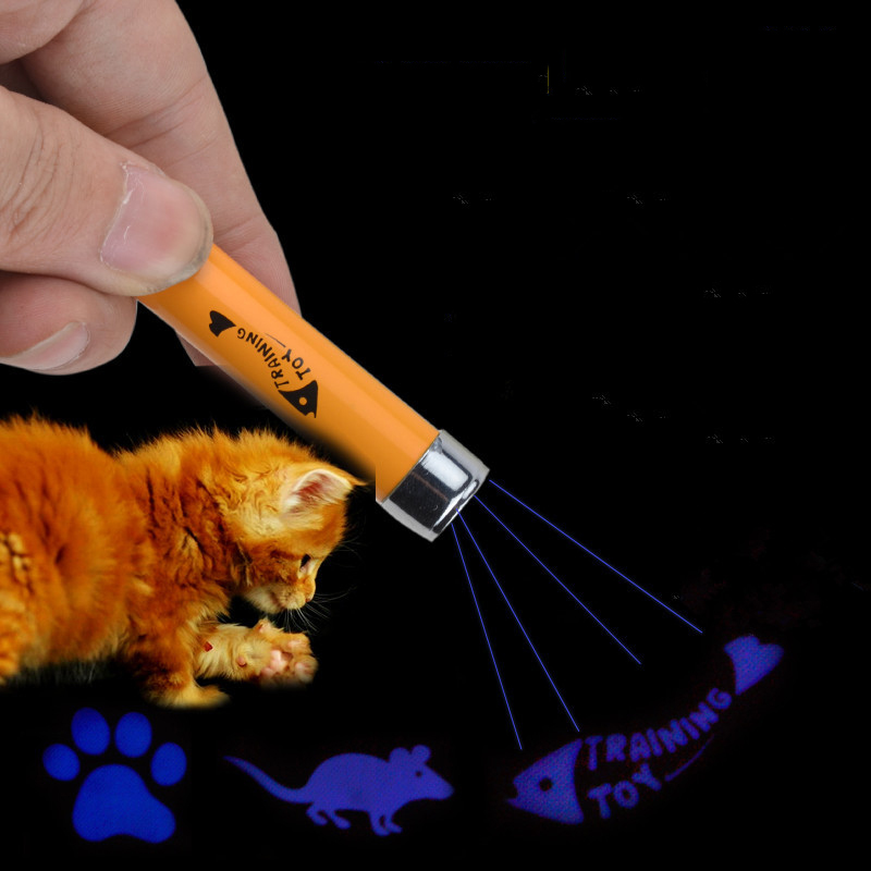 Funny Pet Toys Cat Laser Pointer Projector Pen With Mouse Fish Paw Pattern Key Ring(China (Mainland))