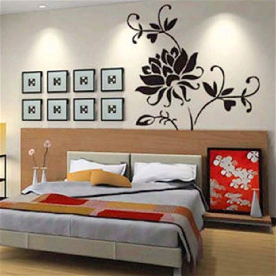 1PC Fashion Black Lotus wall sticker Mural Home Decor Decals Decorative Craft Art Wall Stickers poster paper drop shipping
