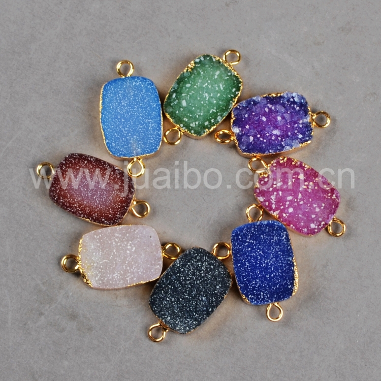 Rectangular Quartz Druzy Connectors Charms Dye Colors Natural Geode Druzy Drusy Gold Connector Charms For Bracelet G0186<br><br>Aliexpress