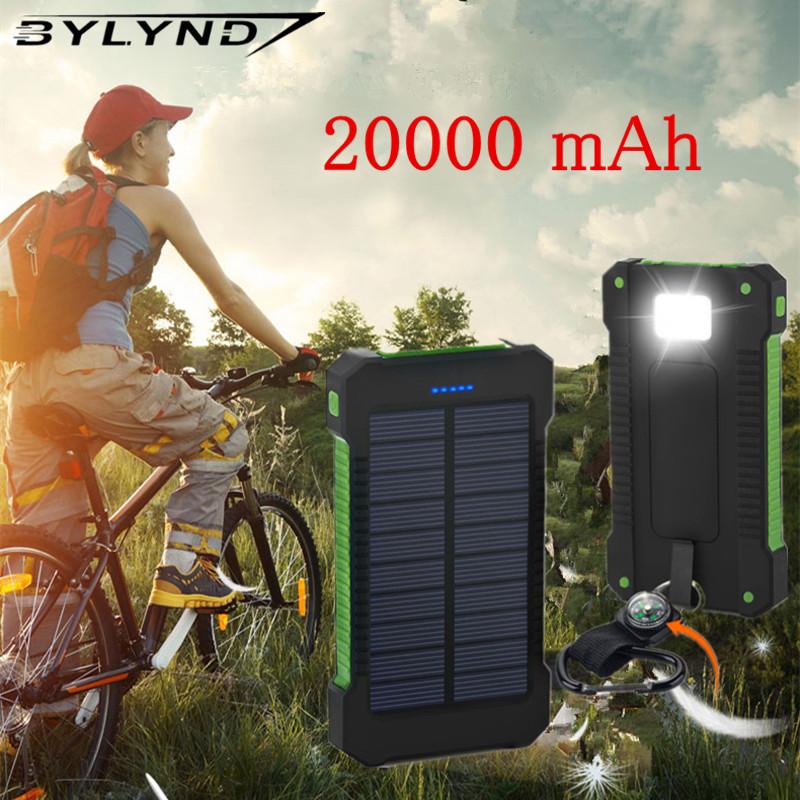 For XIAOMI power bank 20000 mah Portable Solar Power Bank 20000mAh External Battery DUAL Ports powerbank Charger Mobile Charger(China (Mainland))