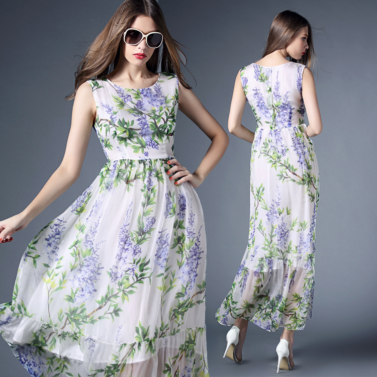 Casual Dress 2015 Fashion Women's High Quality Beach Chiffon Leaves Print Sleeveless Ankle-Length White Summer Long Dress(China (Mainland))