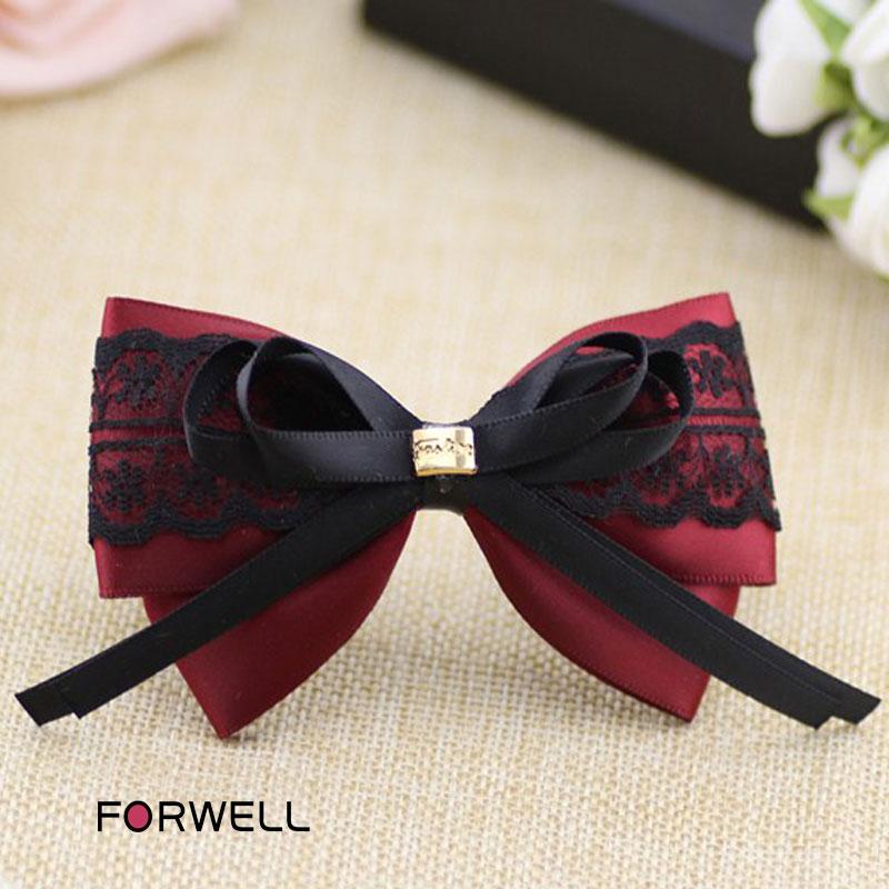 Handmade hair accessories for women girls wine red satin black lace hairpins hair ornaments retro headwear flower hair jewelry(China (Mainland))