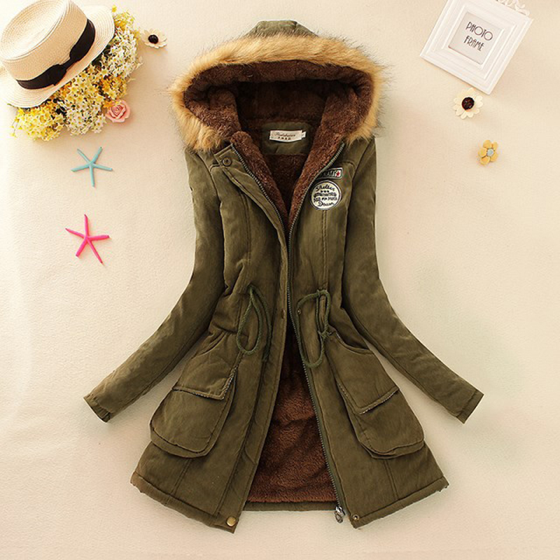 Winter Women Coat 2016 Parka Casual Outwear Military Hooded Coat Woman Clothes Fur Coats manteau female Winter Jacket for Women(China (Mainland))