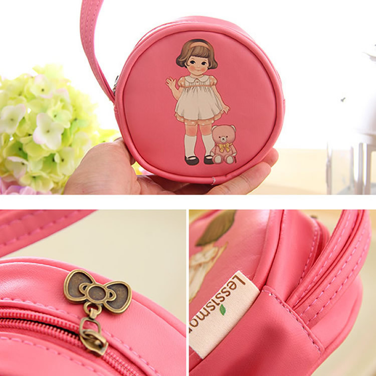 Korean version of the package incorporating creative doll girl round leather purse lovely hand bag hand bag wholesale(China (Mainland))