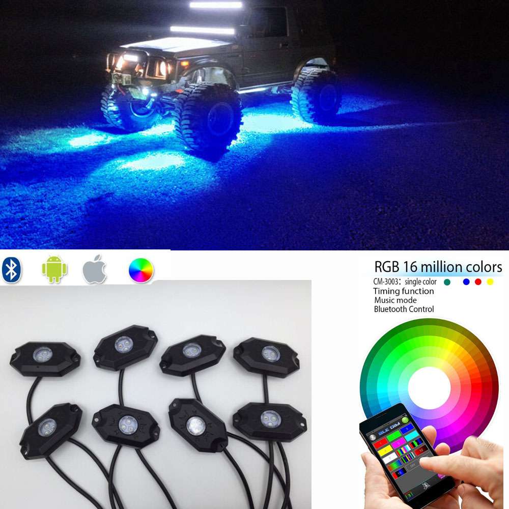 8PCS CREE Led Rock Light RGB Bluetooth Control 16 million Colors IP 68 Under Off Road Truck SUV ATV Vehicle Boat 4wd ATV(China (Mainland))