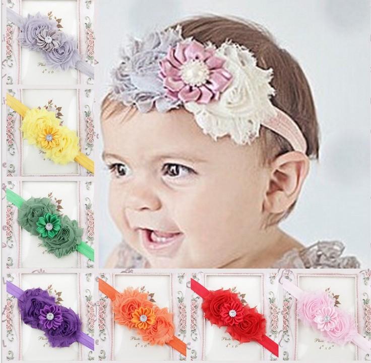 15 colors Shabby Chiffon Flowers headbands hairband multilayer flower kids hair accessories 30pcs/lot flower elastic headbands(China (Mainland))