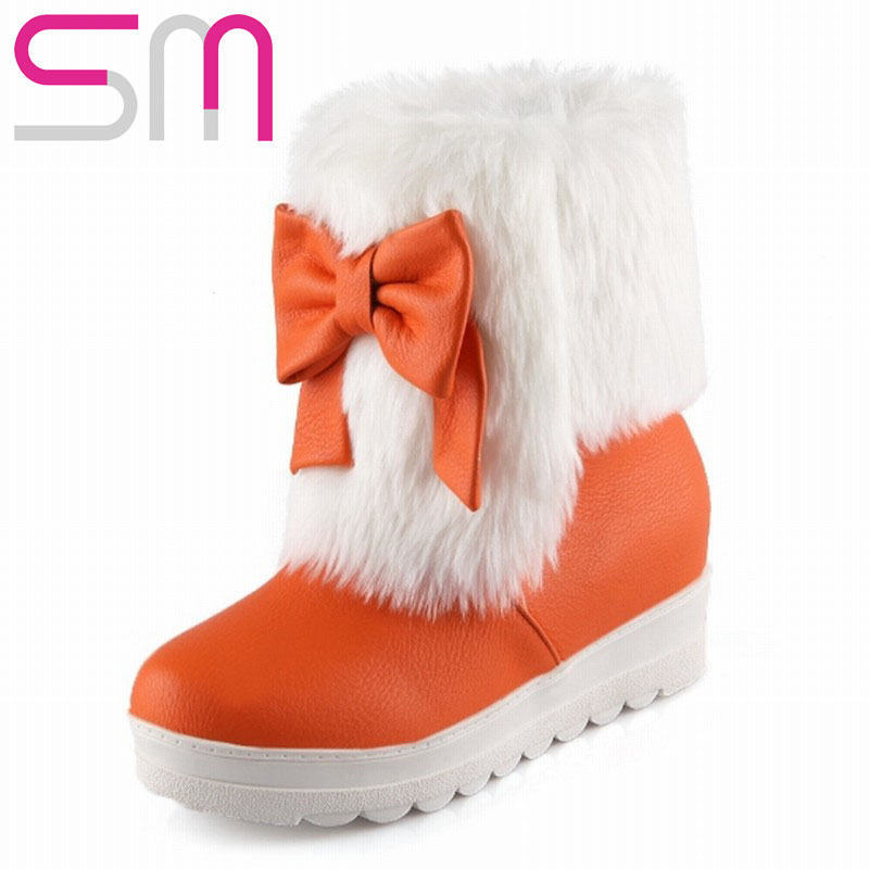 Lovely Bowtie Rabbit fur Slip on Ankle Boots 2015 Hidden Wedges Platform Shoes Snow Boots Winter Boots Women Boots Shoes Woman
