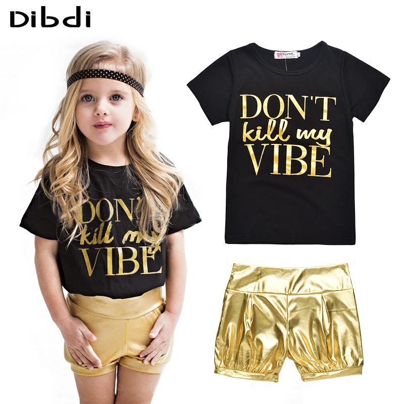 Fashion Kids Clothes Girls Summer Letter Printed T-shirt +Shiny Short Pants Outfit Clothes Set 2 Pcs Suits Girl Clothing CF433(China (Mainland))