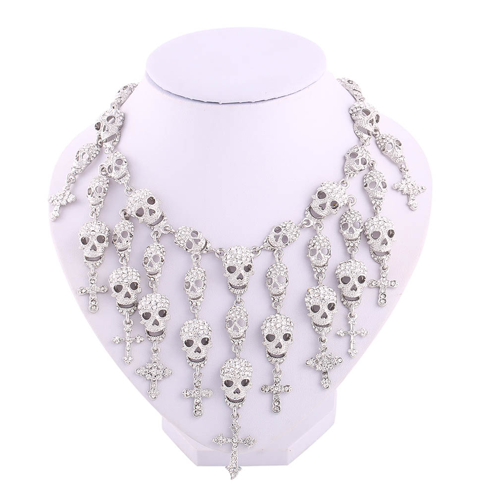 Skull Crystal Cross Pendant Collar Choker Layered Necklaces Party Jewelry Accessories Perfume Women Parfum(China (Mainland))