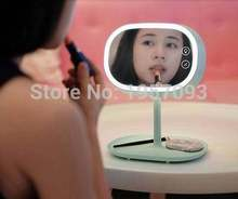 fashion led make up mirror cosmetic desktop mirror with light princess make up mirror with storage 180 rotation high quality(China (Mainland))
