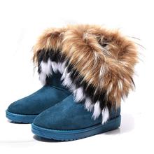 Nueva Caliente de Las Mujeres Calientes Del Invierno de Mitad de la Pantorrilla Botas 2015 Señoras de Moda de Invierno Botas de Nieve de Cuero Rebaño Mujeres Fur Boot zapatos BT3(China (Mainland))