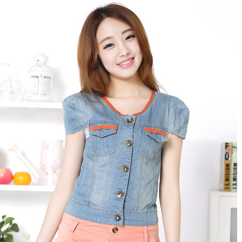 lizhenghong011 Women's girl jumper orange short-sleeve all-match denim short jacket 569