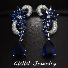 CWW Brand White Gold Plated Luxury Cubic Zircon Drop Stones Long Royal Blue Earrings For Women CZ234(China (Mainland))