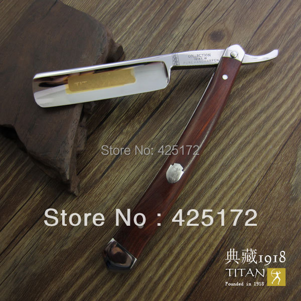 free shipping Titan razor wooden handle hand made razor shaving sharp(China (Mainland))