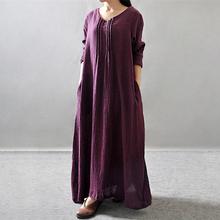 Casual Dresses 2016 Spirng Summer Long Loose women dress vintage cotton Linen Long sleeve V-Neck Maxi dress Solid robe(China (Mainland))