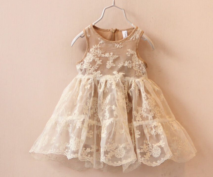 Spring Summer Tulle lace Dresses Kids Girls crochet floral princess tutu party dress children's clothes(China (Mainland))