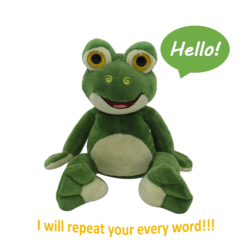 Electronic Battery Operated Talk Back Animated Animal Cute Stuffed Soft Plush Frog Repeating Toy For Kids(China (Mainland))