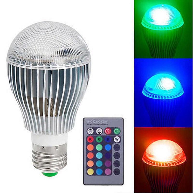 9W E27 Color LED RGB Magic Light Bulb With Wireless Remote(China (Mainland))