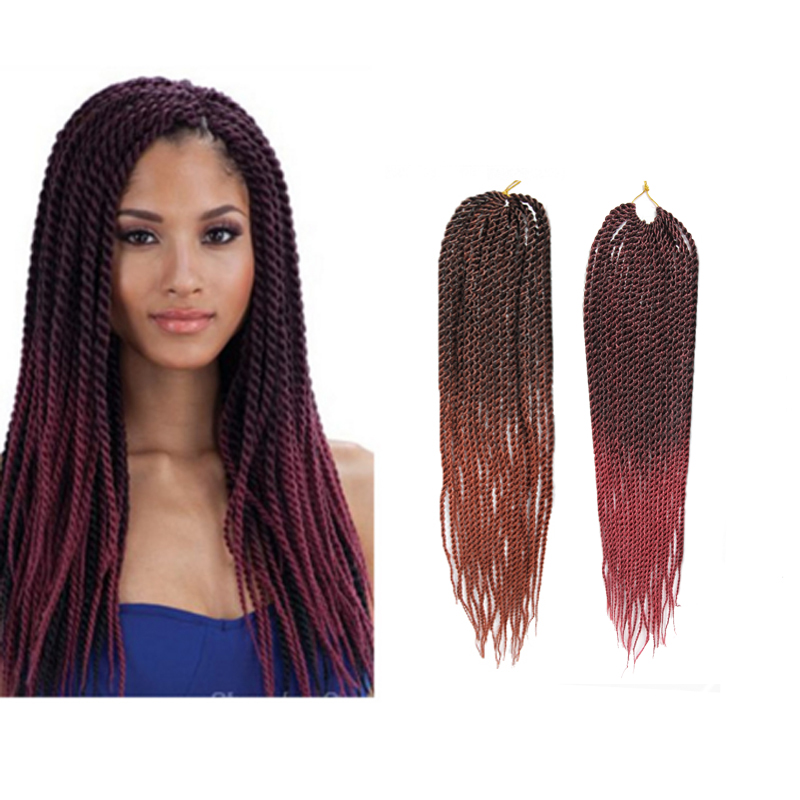 Crochet Hair Ombre : 18 Ombre Senegalese Twist Crochet Braid Hair Synthetic Two Tone Afr...