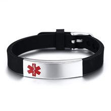 Vnox Engravable Medical Alert ID Bracelet DIABETES EPILEPSY ALZHEIMER'S ALLERGY SOS Women Men Personalized Jewelry(China)