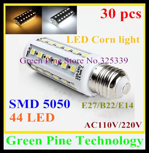 FedEX Free shipping 30 X E27 E14 B22 SMD5050 44 led 9W light 110-240V Energy Saving Corn Bulb led Light led Lamp corn light<br><br>Aliexpress