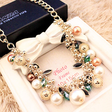 2015 New Arrival Women Chokers Necklaces Color Gem Pearl Necklace(China (Mainland))