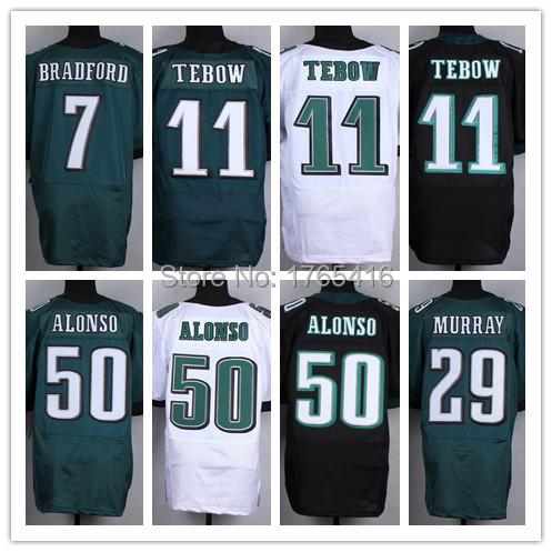 Wholesale New Tim Tebow Jersey Philadelphia Stitched Kiko Alonso Bradford DeMarco Murray Black Green White Elite Football Jersey(China (Mainland))