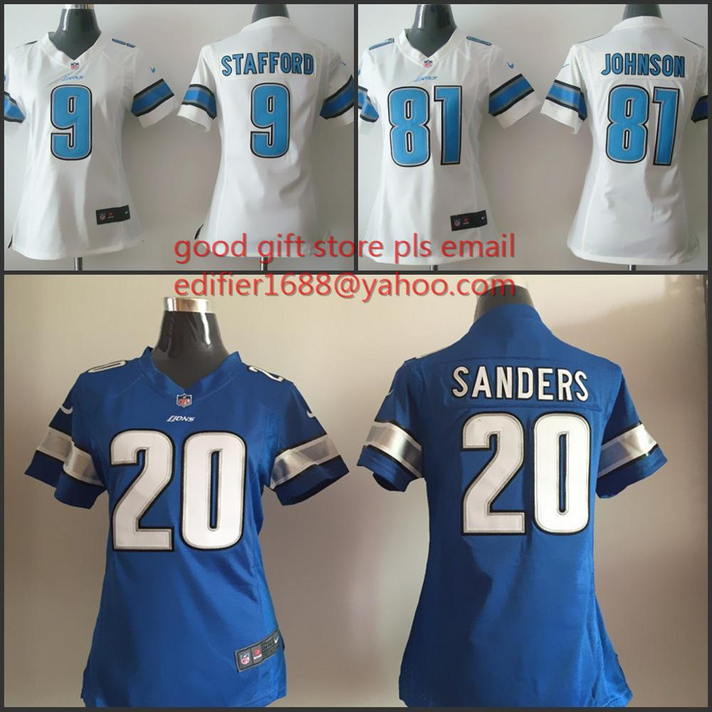 women Detroit Lions ladies 9 Matthew Stafford 20 Barry Sanders 81 Calvin Johnson Embroidery Logos size S to XXL,camouflage(China (Mainland))