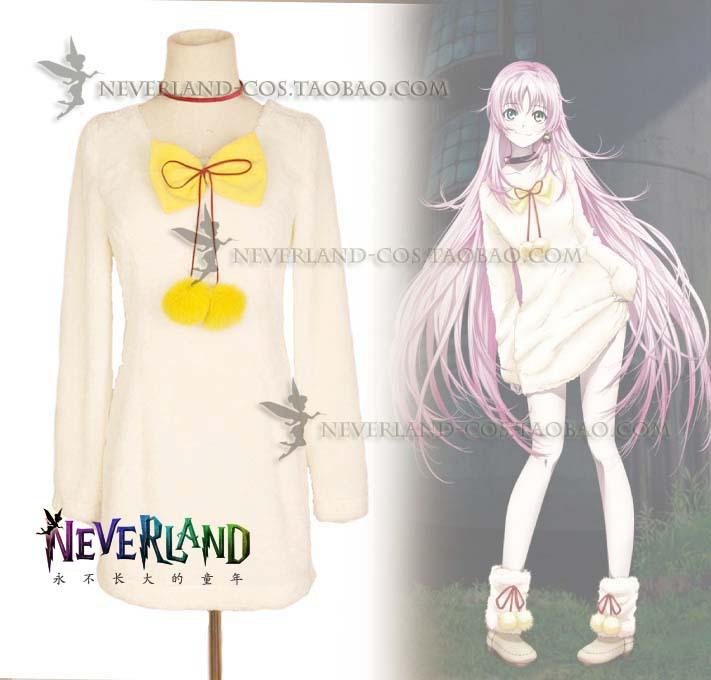 Anime Project K NEKO Cosplay Costume Lolita Casual Dress Full Set Dress+Foot Cover+Necklet+Earrings - HangZhou BOBO Co., Ltd store