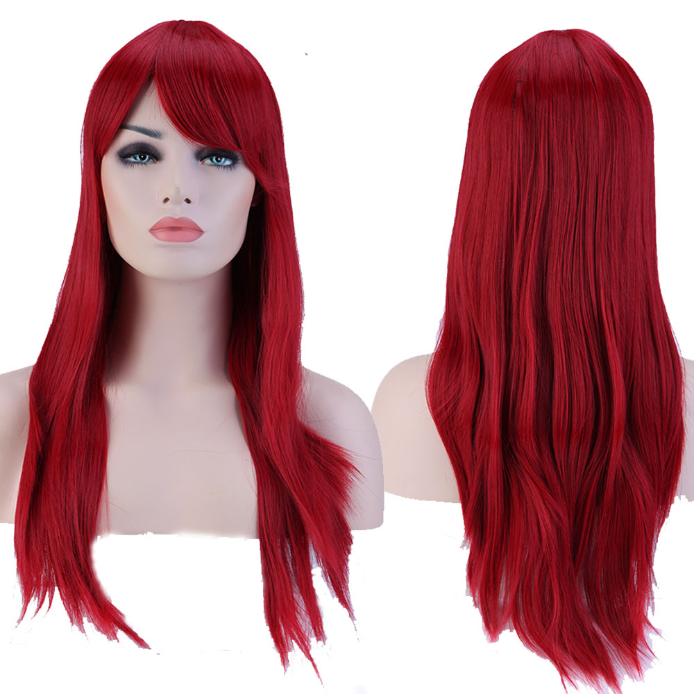 "1Pcs 23"" 60cm Long Straight Fringe Bangs Full Head Wig Dark Red TW073(China (Mainland))"