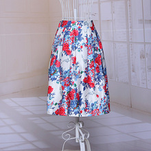 Summer Style High Waist Elastic Stretch Floral Printed Fashion Skirt Midi A-Line Elegant Knee Length Women's Solid Color Skirts