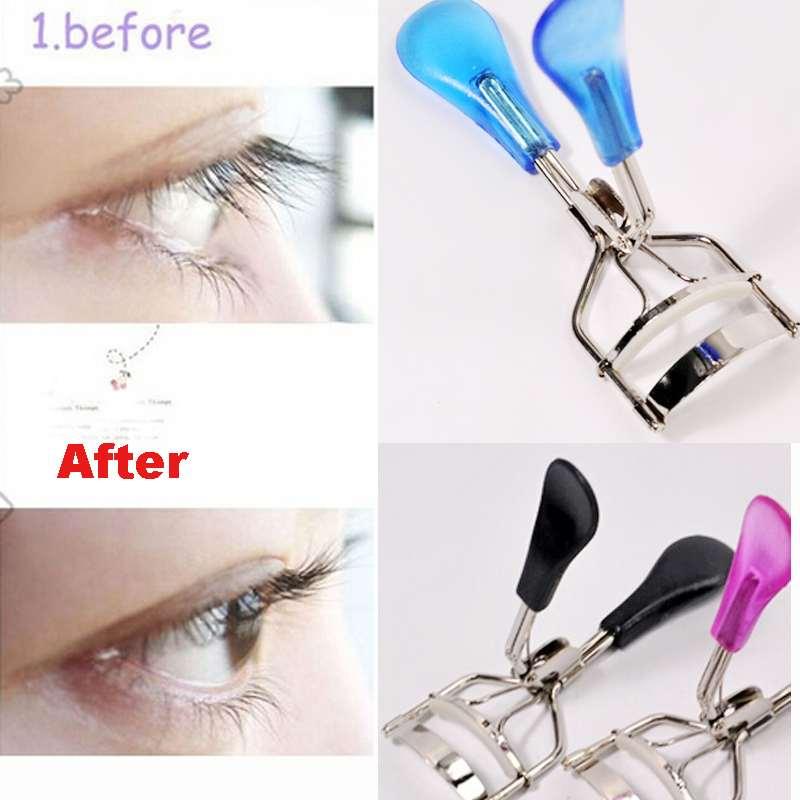 Free Shipping High Quality Stylish Eyelash Curling Eyelash Curler Plastic Clip Easy to Use Travel Gift(China (Mainland))
