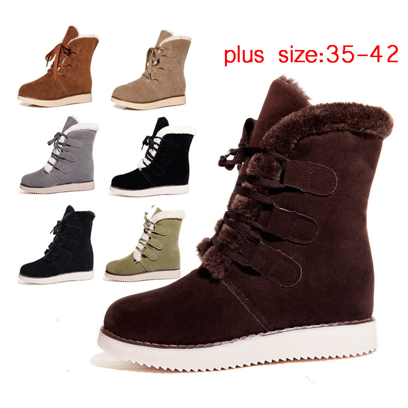 Гаджет  Botas Mujer Shoes Women Boots Winter 2015 Snow boots Flat Heels Shoes Women Fur Boots For Women Botas Femininas Black  Z12 None Обувь