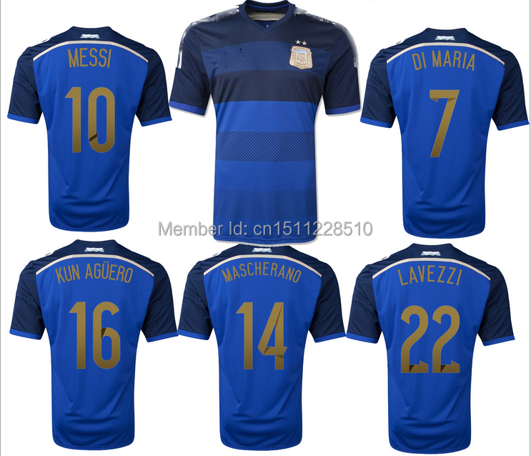 Free shipping 2014 world cup Argentina away new style rushed sale Quick Dry Knitted men short jersey Training soccer uniform(China (Mainland))