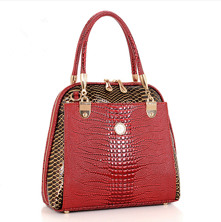 2016 New Luxury OL Lady bags famous brands Crocodile Pattern Hobo Handbag Tote Fashion Lady genuine leather bag(China (Mainland))