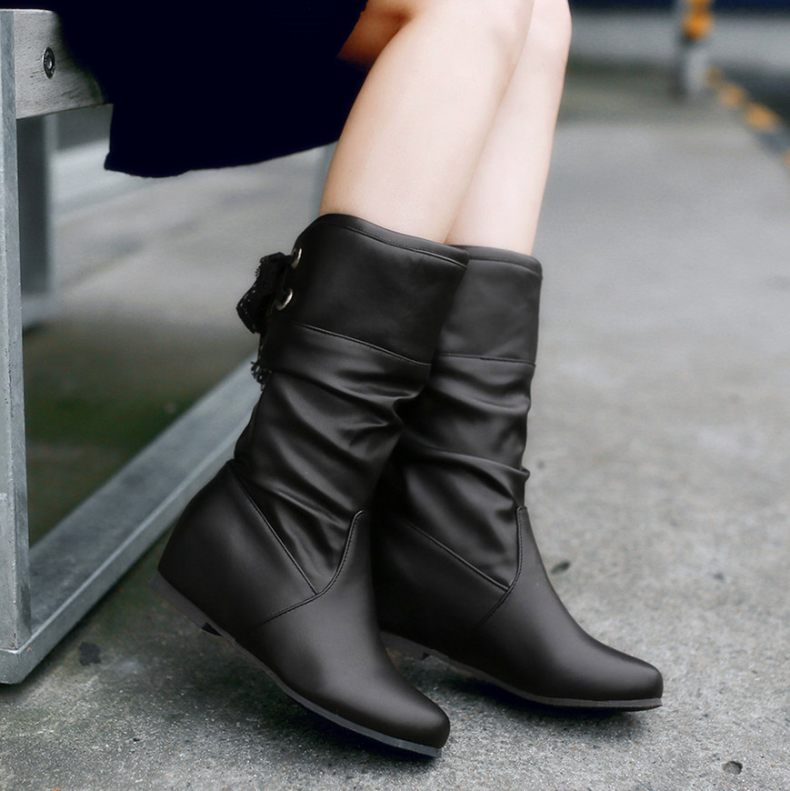 Hot fashion autumn and winter boots shoes woman flats knee high boots inner wedges lace up high heel shoes boots plus size 34-43