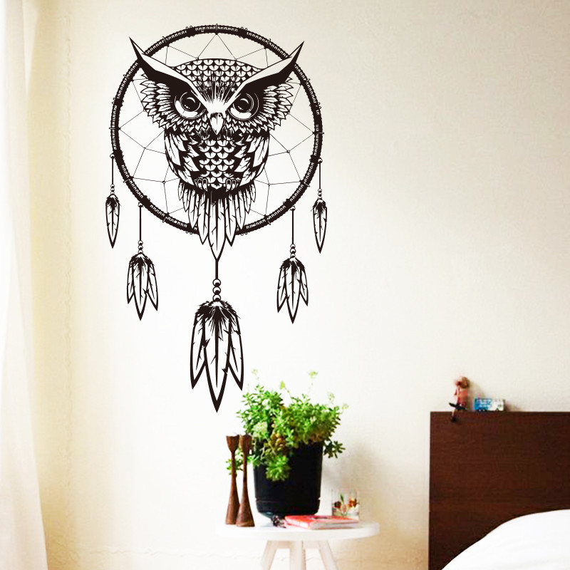 2016 art design indian dream catcher vinyl owl home decor wall sticker