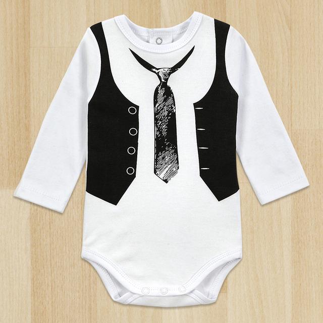 Один один-шт мальчик джентльмен ползунки белый длинный рукав младенцы зима комбинезон следующий младенцы новорожденный одежда тело