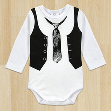 Top Quality Retail One-Pieces Baby Boy Gentleman Romper White Long Sleeve Baby Winter Overalls Next Baby Newborn Clothes Body